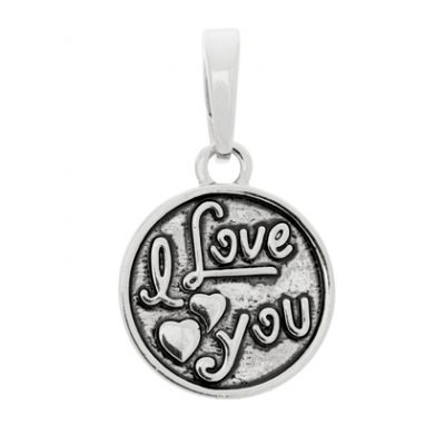 I Love You Silver Bangle Charm