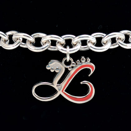 Sterling Silver Bracelet with Red Charm
